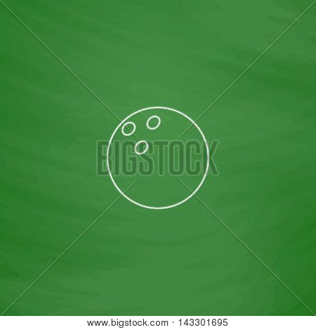 Bowling ball Outline vector icon. Imitation draw with white chalk on green chalkboard. Flat Pictogram and School board background. Illustration symbol