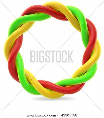 Twisted colorful rings isolated on white background. 3D rendering.