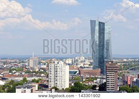 FRANKFURT AM MAIN GERMANY - AUGUST 7 2015: the new headquarters for the European Central Bank (ECB) at the East end of Frankfurtthe largest financial centre in the Eurozone. Officially opened on March 18 2015.
