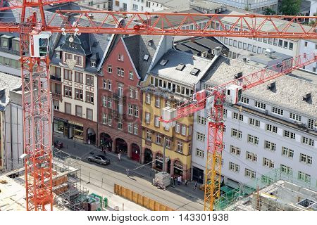 FRANKFURT AM MAIN GERMANY - AUGUST 7 2015: Aerial view of Braubachstrasse street with a huge construction site.