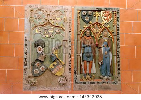 FRANKFURT AM MAIN GERMANY - AUGUST 7 2015: Interior of Saint Bartholomew Cathedral in Roemerberg. It was an election and coronation church of the Holy Roman Empire symbol of national unity.