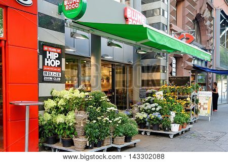 FRANKFURT AM MAIN GERMANY - AUGUST 7 2015: A flower shop in Frankfurt am Main.