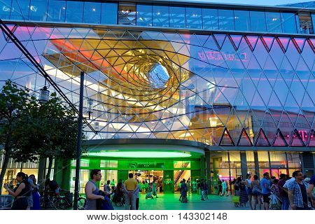 FRANKFURT AM MAIN GERMANY - AUGUST 7 2015: MyZeil a shopping mall part of the Palais Quartier development on Zeil street one of the most famous and busiest shopping streets in Germany.