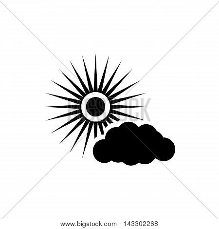 Sun and cloud icon in simple style on a white background