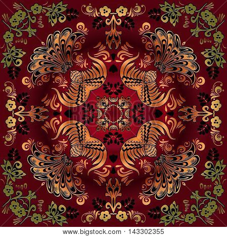beautiful floral pattern Mandala in the style of traditional folk art decorative painting on red burgundy background