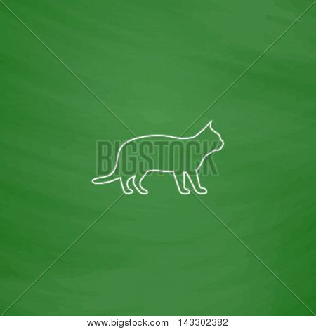 pussycat Outline vector icon. Imitation draw with white chalk on green chalkboard. Flat Pictogram and School board background. Illustration symbol