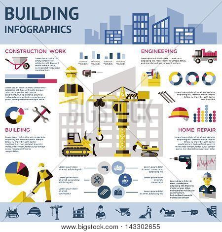 Construction colored infographic with construction work engineering building home repair descriptions vector illustration