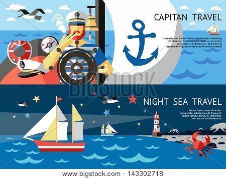 Two horizontal nautical concept banner set with captain travel night sea travel descriptions vector illustration