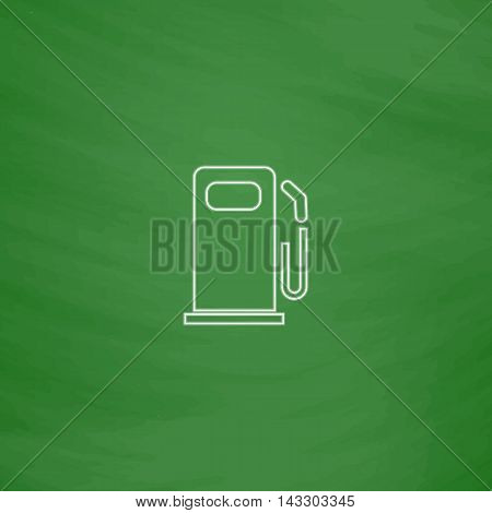 petrol station Outline vector icon. Imitation draw with white chalk on green chalkboard. Flat Pictogram and School board background. Illustration symbol