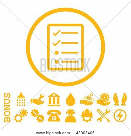 Checklist Page glyph icon. Image style is a flat pictogram symbol inside a circle, yellow color, white background. Bonus images are included.