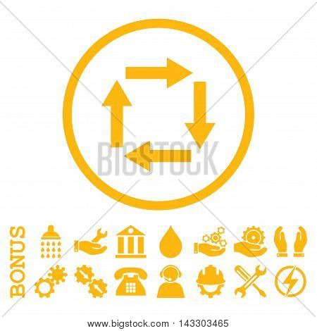 Circulation Arrows glyph icon. Image style is a flat pictogram symbol inside a circle, yellow color, white background. Bonus images are included.