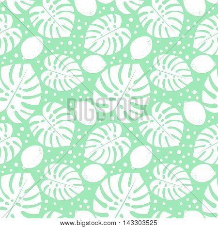 Seamless decorative pattern with lemons and palm leaves. Simple tropical monstera leaves background with lemons and dots. Trendy Jungle illustration. Design for textile, wallpaper, fabric etc