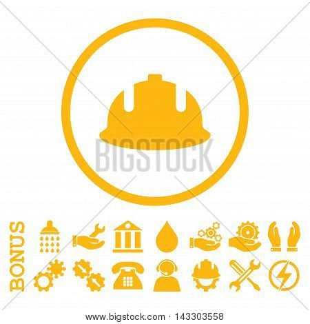 Construction Helmet glyph icon. Image style is a flat pictogram symbol inside a circle, yellow color, white background. Bonus images are included.