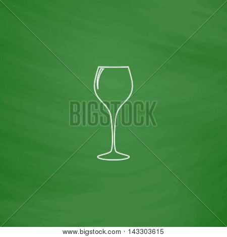 wine glass Outline vector icon. Imitation draw with white chalk on green chalkboard. Flat Pictogram and School board background. Illustration symbol
