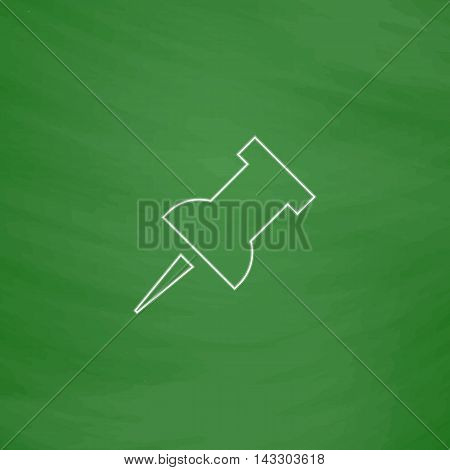 Pushpin Outline vector icon. Imitation draw with white chalk on green chalkboard. Flat Pictogram and School board background. Illustration symbol
