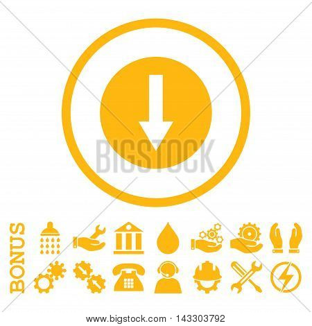 Down Rounded Arrow glyph icon. Image style is a flat pictogram symbol inside a circle, yellow color, white background. Bonus images are included.