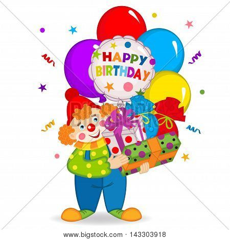 clown keeps balloons and birthday gifts - vector illustration, eps