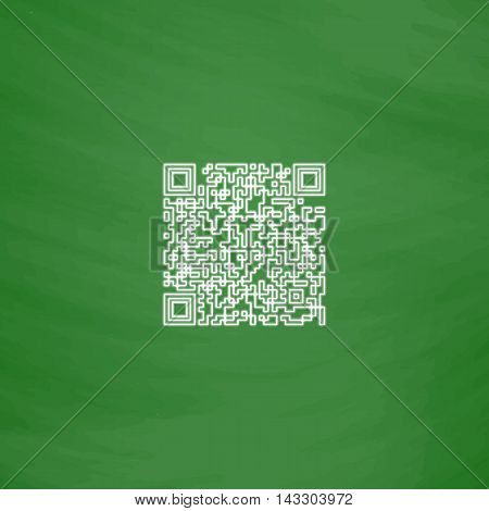 Qr code Outline vector icon. Imitation draw with white chalk on green chalkboard. Flat Pictogram and School board background. Illustration symbol
