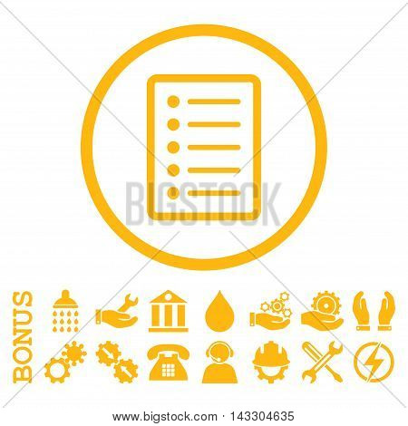 List Page glyph icon. Image style is a flat pictogram symbol inside a circle, yellow color, white background. Bonus images are included.