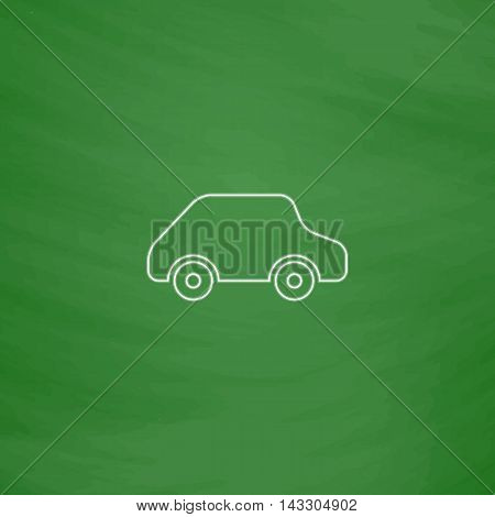 Toy Car Outline vector icon. Imitation draw with white chalk on green chalkboard. Flat Pictogram and School board background. Illustration symbol