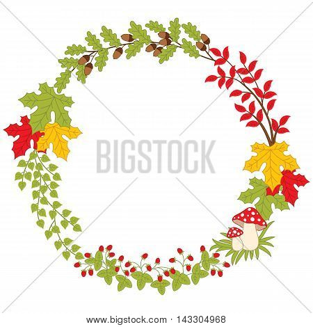 Vector autumn forest wreath with mushrooms, leaves and berries