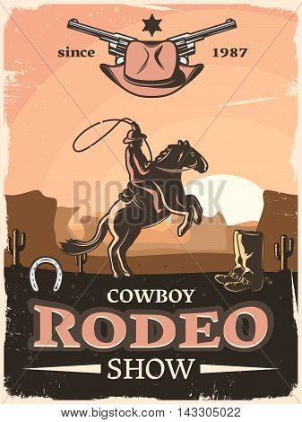 Vintage wild west poster with cowboy rodeo show descriptions since 1987 and rider with lasso vector illustration