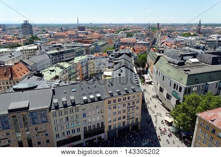 MUNICH GERMANY - AUGUST 3 2015: Aerial view from the New Town Hall. Munuch is the capital and largest city of the German state of Bavaria.