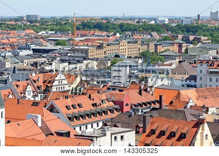 Munich Germany. Aerial view from the New Town Hall. Munuch is the capital and largest city of the German state of Bavaria.