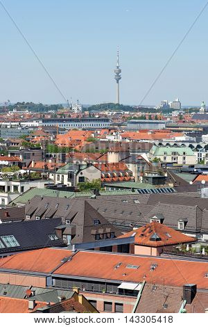 Munich Germany. Aerial view from the New Town Hall the Olympic Tower in the distance.