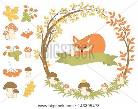 Vector autumn forest set with fox, wreath, mushrooms, berries and leaves