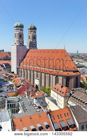 Panoramic view of Munich with Frauenkirche cathedral symbol of the city Germany.