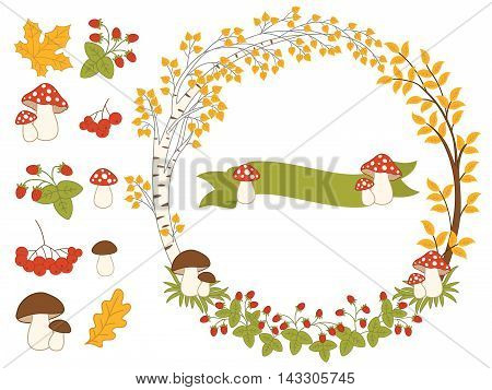 Vector autumn forest set with ribbon, wreath, mushrooms, berries and leaves