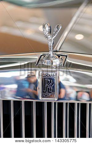 MUNICH GERMANY - 4 AUGUST 2015: Logo of Rolls Royce photo made at BMW World showroom in Munich Germany.