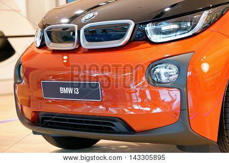 MUNICH GERMANY - 4 AUGUST 2015: BMW i3 at the BMW Welt a customer experience and exhibition facility of the BMW AG Munich Germany