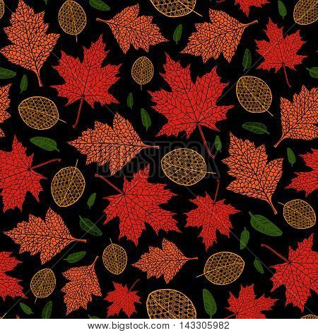 Vector Seamless Pattern Of Autumn Leaves