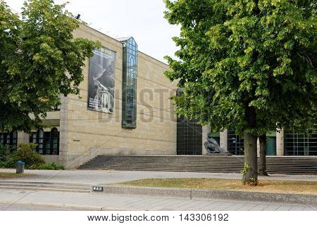 MUNICH GERMANY - 4 AUGUST 2015: New Pinacotheca one of the most important art museums of the nineteenth century in the world. Its focus is European Art of the 18th and 19th century