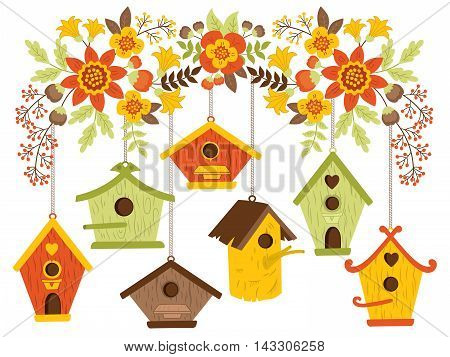 Vector autumn flowers and leaves with bird houses