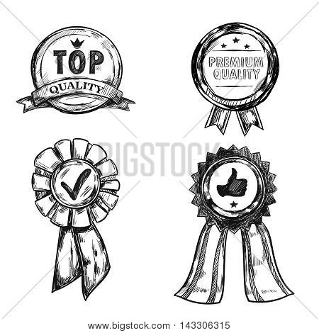 Drawing quality medal emblem set with top quality and premium quality descriptions vector illustration