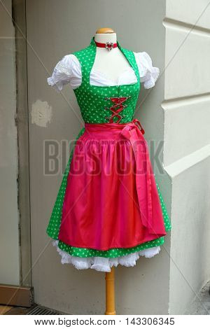 Traditional Bavarian dirndl on display for sale in Munich Germany.
