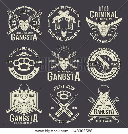 Criminal authority monochrome emblems with gangster skull and different weapon on black background isolated vector illustration
