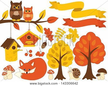 Vector autumn forest set with fox, owls, trees and leaves