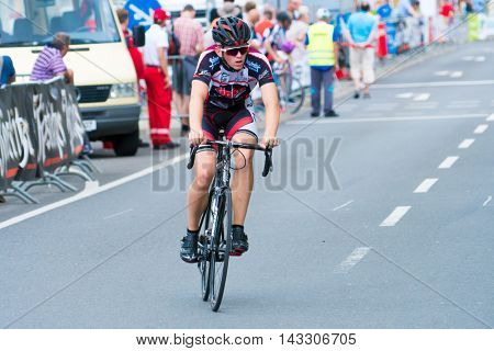 Gera, Germany - JUNE 30, 2016: Bicycle racing in Gera. Germany