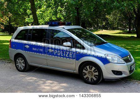 FRANKFURTGERMANY- AUGUST 6 2015: A german federal police car.