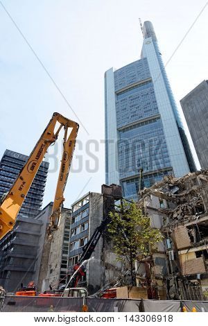 FRANKFURT AM MAIN GERMANY - AUGUST 6 2015: A large construction site in Frankfurt near Commerzbank Tower.