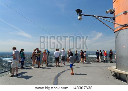 FRANKFURT AM MAIN Germany - august 6 2015: Visitors at the public viewing platform of the Main Tower - a 56 storey 200 m high skyscraper named after the Main river.