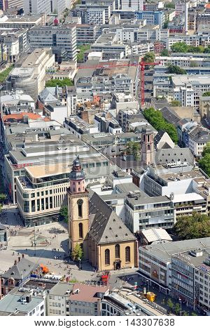 FRANKFURT AM MAIN GERMANY - AUGUST 6 2015 - Aerial view of Katharinenkirche (St. Catherine' church) in the old city center at Hauptwache plaza.