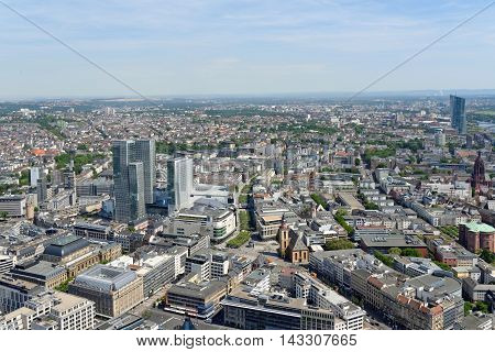 FRANKFURT AM MAIN GERMANY - AUGUST 6 2015: Aerial view of the city from the observatory deck of the Mian tower. Frankfurt is the largest financial centre in continental Europe.