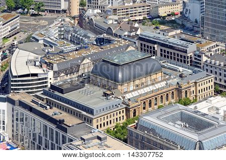 Aerial view of Stock exchange in Frankfurt Germany from the Mian Tower.