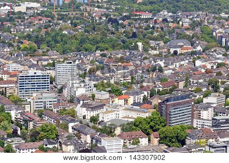 Aerial view of a residential part of the city of Frankfurt am Main Germany from the observatory deck of the Mian tower. Frankfurt is the largest fof inancial centre in continental Europe.