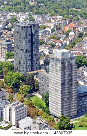 Aerial view of the central business district of Frankfurt am Main Germany from the observatory deck of the Mainn tower. Frankfurt is the largest financial center in continental Europe.